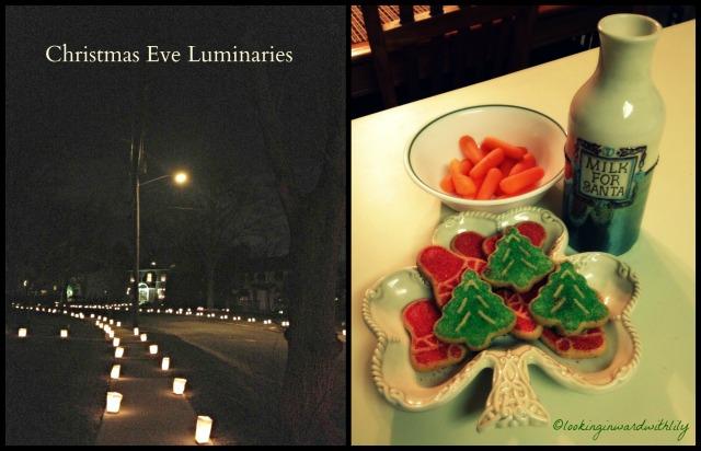 Christmas Eve Luminaries and Santa Cookies